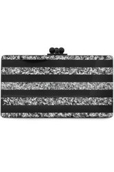 Edie Parker Woman Glittered Stripe Perspex Clutch Silver