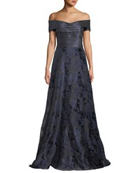 Rene Ruiz Off The Shoulder Metallic Ball Gown Blue Gray