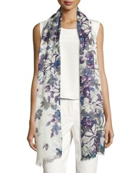 Loro Piana Bohemian Flowers Cashmere And Silk Stole Blue