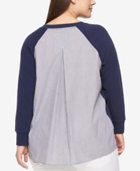 Tommy Hilfiger Plus Size Cotton Mixed Media Sweater Navy Combo