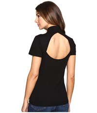 Splendid Slub 1X1 Fitted Turtleneck Tee Black Women's T Shirt
