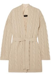 Nili Lotan Serene Belted Cable Knit Cashmere Cardigan Beige