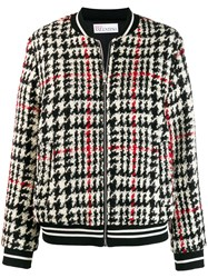 Red Valentino Tartan Knit Bomber Jacket Black