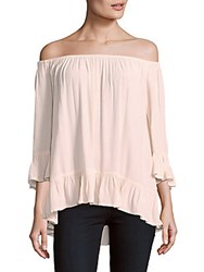 Beach Lunch Lounge Solid Off The Shoulder Top Blush Bright