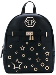 Philipp Plein Star Backpack Women Leather Suede Metal One Size Black