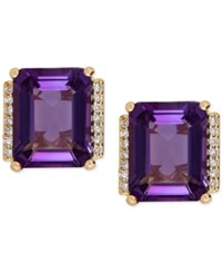 Macy's Amethyst 4 1 5 Ct. T.W. And Diamond Accent Stud Earrings In 14K Gold Yellow Gold