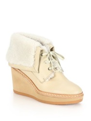 See By Chlo Leather And Shearling Lace Up Wedge Booties Beige