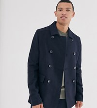 French Connection Tall Wool Blend Pea Coat Navy