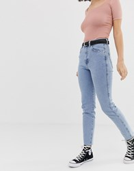 Pull And Bear Slim Mom Stretch Jean In Light Blue Blue