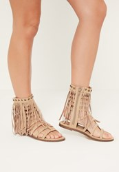 Missguided Nude Tassel Ankle Cuff Gladiator Shoes Stone