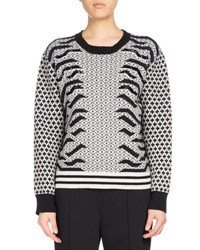 Kenzo Crew Neck Embellished Mixed Print Sweater Black