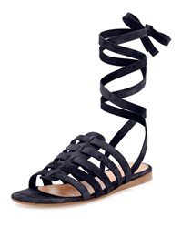 Gianvito Rossi Suede Ankle Wrap Gladiator Sandal Denim Blue Size 35.0B 5.0B