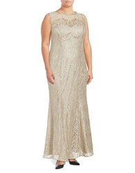 Xscape Evenings Sleeveless Embellished Lace Column Gown Champagne
