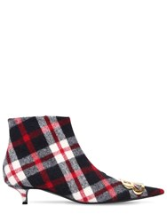 Balenciaga 40Mm Bb Checked Flannel Ankle Boots Red Navy