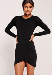 Missguided Asymmetric Hem Long Sleeve Jersey Dress Black Black