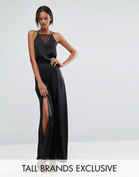 Vero Moda Tall Satin And Lace Maxi Dress Black
