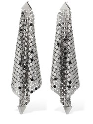 Paco Rabanne Draped Chainmail Pendant Earrings Silver