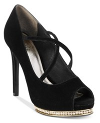 Adrianna Papell Golda Rhinestone Platform Pumps Women's Shoes Black