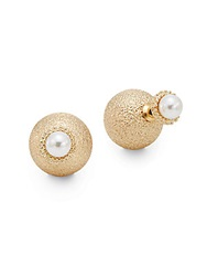 Kjl Two Sided Faux Pearl Stud Earrings Pearl Gold