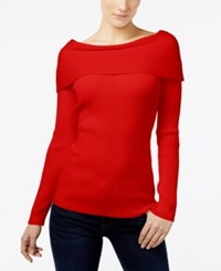 Inc International Concepts Ribbed Off The Shoulder Top Only At Macy's Real Red