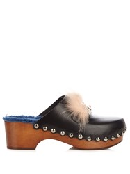 Fendi Square Eyes Fur Trimmed Leather Clogs