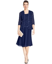 R And M Richards Petite Sequin Lace Dress And Jacket Navy