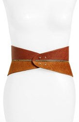 Raina Women's Leather Corset Belt Cognac