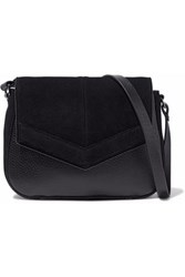 Halston Faux Suede Paneled Faux Leather Shoulder Bag Black