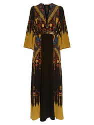 Etro Geometric Embroidered Silk Gown Black Multi