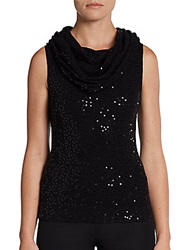 Minnie Rose Marily Sequined Cowlneck Top Black