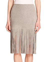 Theperfext Mimi Suede Fringe Skirt Light Grey