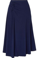 Maggie Marilyn Net Sustain Honey Ain't Home Gathered Ribbed Jersey Midi Skirt Midnight Blue