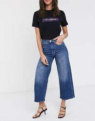 Only Madison High Waisted Crop Wide Leg Denim Jeans Blue