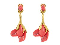 Oscar De La Renta Magnloia Resin Flower C Earrings Melon
