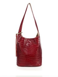 Elizabeth And James Finley Croc Embossed Leather Courier Black Oxblood