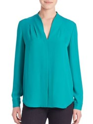 Elie Tahari Bea Long Sleeve Silk Blouse Cricket