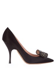Rochas Bow Embellished Satin Pumps Black