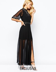 Frock And Frill Embellished High Neck Maxi Dress With Kimono Sleeve And Thigh Split Blackgunmetal
