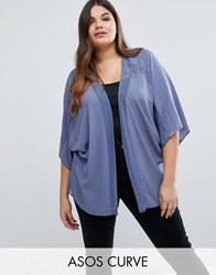 Asos Curve Sheer And Solid Kimono Blue