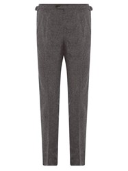 Thom Sweeney Tailored Pintucked Pleat Wool Trousers Grey