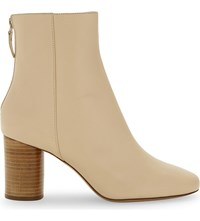 Sandro Sacha Leather Ankle Boots Beige