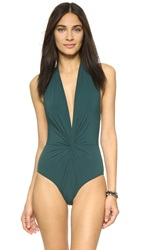 Karla Colletto Low Back Plunge Swimsuit Spruce
