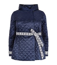 Marina Rinaldi Quilted Embroidered Belt Coat Female Blue