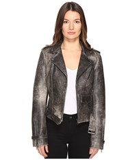Just Cavalli Leather Moto Hot Rod Jacket Black