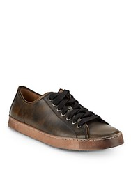 John Varvatos Mick Heritage Mottled Leather Sneakers Distressed