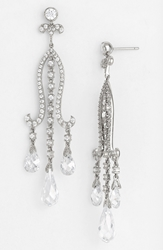 Nina Crystal Chandelier Earrings Silver Cz