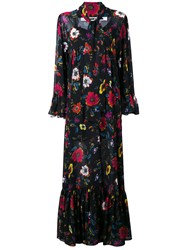 Mcq By Alexander Mcqueen Floral Print V Neck Dress Black