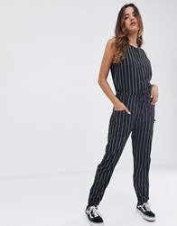 Rvca Pop Out Jumpsuit In Stripe Grey