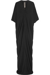 Rick Owens Kite Draped Crepe Gown Black