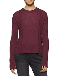 Calvin Klein Jeans Long Sleeve Cropped Knit Sweater Plum Cherry